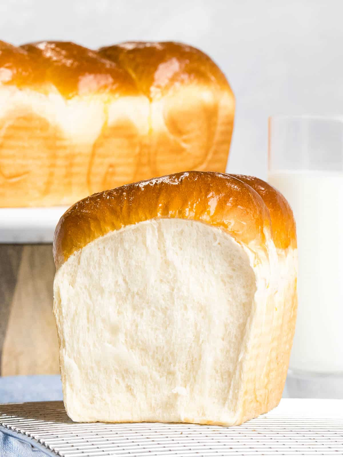 Soft and fluffy Japanese milk bread (shokupan) with golden brown crust.
