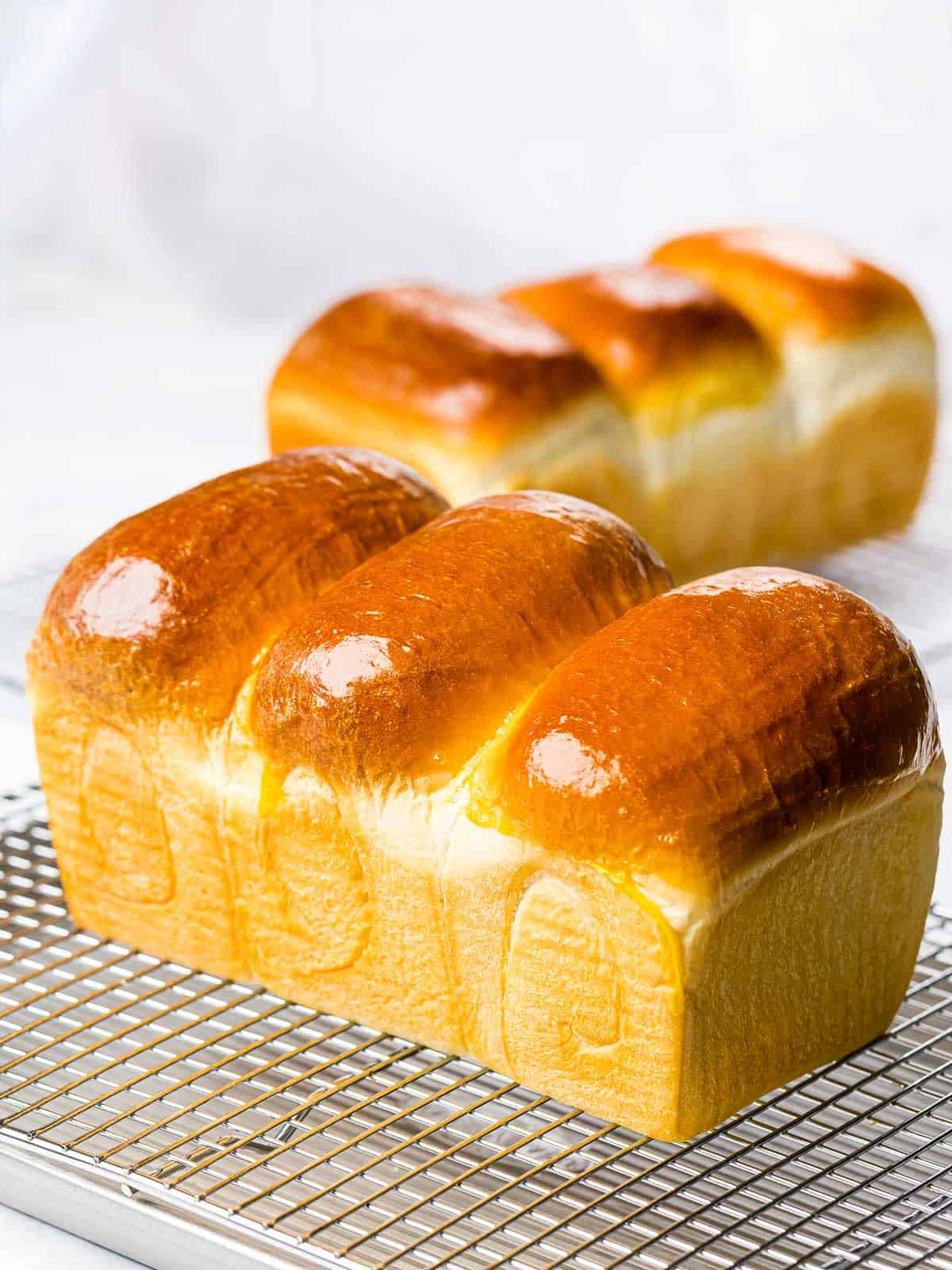 Homemade Asian milk bread loaves with golden brown crust on a cooling rack.