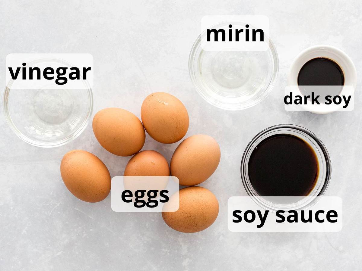Ingredients for ramen eggs with soy sauce and mirin marinade with text overlay.
