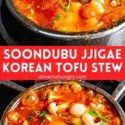 Soondubu jjigae - Korean tofu stew with text overlay.