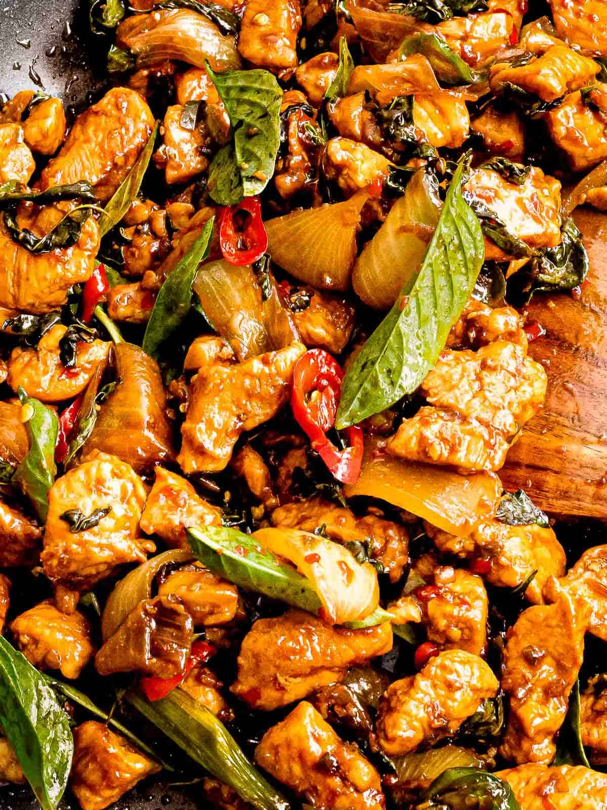 Thai basil chicken (pad krapow gai) with red chili peppers.