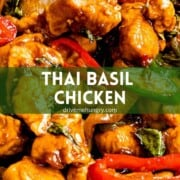 Thai basil chicken with text overlay on green banner.