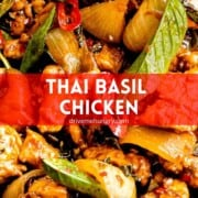Thai basil chicken with text overlay on red banner.